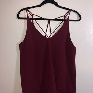 Burgundy tank top with neck and back detail